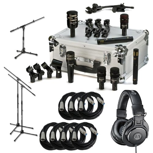 Audix Dp7 7 Piece Drum Microphone Kit W/ Stands, Xlr Cables, Ath-M30X Headphones