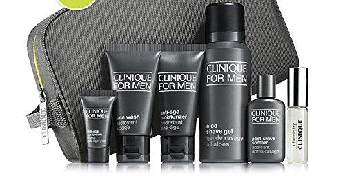 Clinique Per Gli Uomini Set Regalo-Face Wash, Idratante, Shave Gel, Crema per il contorno occhi, post rasatura Succhietto, Colonia E Borsa Da Viaggio