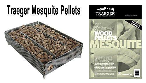 A-Maze-N Pellet Smoker 5X8 With Traeger Pel304 Mesquite Wood Pellets, 1 Lb.