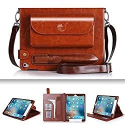 iPad Pro 9.7 Case, iPad Pro 9.7 inch Case, FYY Luxurious Genuine Leather Case All-Powerful Cover for iPad Pro 9.7 inch (2016) Brown