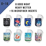 Kawaii Baby Pack of 8 Baby cloth Unisex One Size Adjustable Anti-leak Waterproof Good Night Heavy Wetter Overnight Pocket Reusable Diapers fron Newborn To Toddler With 16 Microfiber Inserts (Tamaño: 8-36lbs)