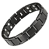 Willis Judd New Mens Titanium Black Extra Strong Power/Strength Double Row 3000g Magnetic Bracelet WithIn Black Velvet Gift Box Free Link Removal Tool