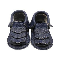 Sayoyo Baby Boy Sandal Soft Sole Leather Tassel Crib Shoes(24-36 months,Navy Blue)