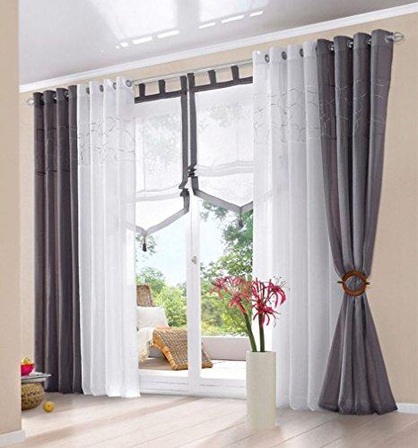 souarts grau stickerei gardine vorhang schlaufenschal deko