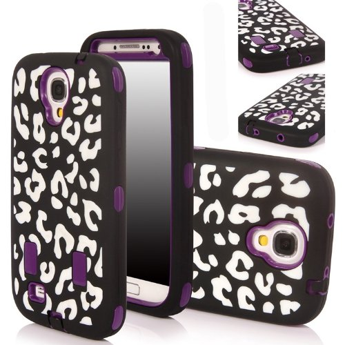Incore Creative Samsung Galaxy S4 S Iv I9500 Luxury Printed Hard Soft High Impact Hybrid Armor Defender Combo Case (Leopard Print White Purple) With 1 Screen Protector, 1 Tm Wristband And 1 Microfiber Sticker Digital Cleaner
