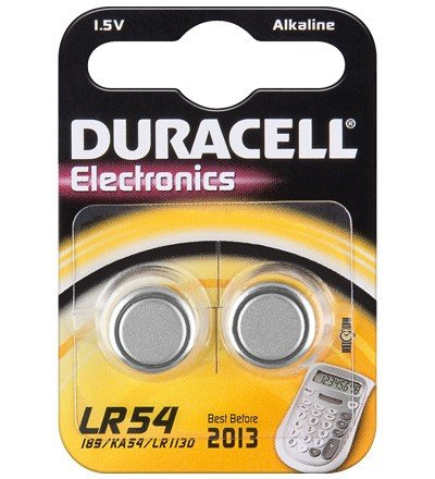 Piles Duracell boutons alcaline 2x LR54
