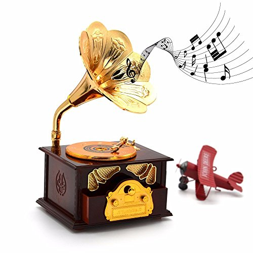 Fding Classical Trumpet Horn Turntable Gramophone Art Disc Music Box & Make up Case &Jewelry Box Home Decor (Brown) 6