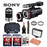 Sony NEX-VG900 Full-Frame Camcorder (Black) + Sony E 55-210mm F4.5-6.3 Lens + Case + LED 160 + Two 64GB Memory Cards