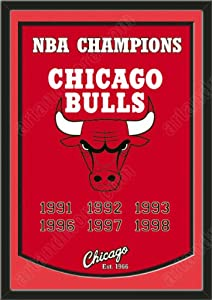 Dynasty Banner Of Chicago Bulls With Team Color Double Matting-Framed Awesome &... by Art and More, Davenport, IA