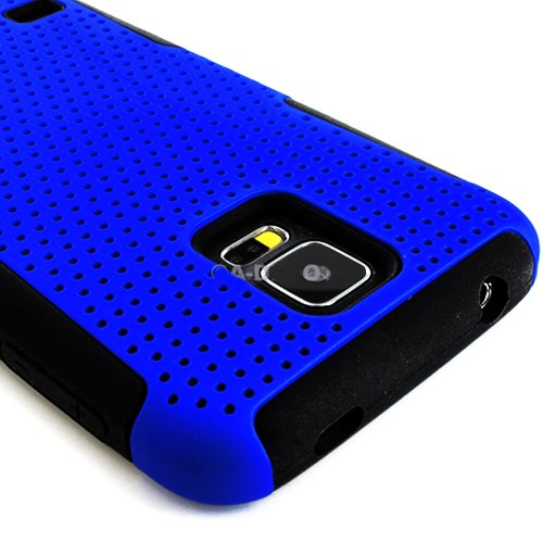 Mylife (Tm) Vibrant Royal Blue And Charcoal Black - Perforated Mesh Series (2 Layer Neo Hybrid) Slim Armor Case For The New Galaxy S5 (5G) Smartphone By Samsung (External Rubberized Hard Shell Mesh Piece + Internal Soft Silicone Flexible Gel + Lifetime Wa