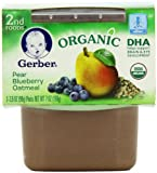 Gerber 2nd Foods Organic Pear Blueberry Oatmeal, 2-Count, 3.5-Ounce Tubs (Pack of 8)
