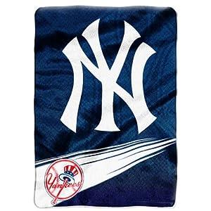 "New York Yankees MLB Royal Plush Raschel Blanket (Speed Series) (60x80"")"""