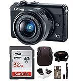Canon EOS M100 Mirrorless Digital Camera EF-M 15-45mm lens (Black) + 32GB SDHC Memory Card + Accessory Bundle