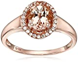 10k Rose Gold Morganite and Diamond Princess Diana Oval Halo Ring (1/10cttw, H-I Color, I1-I2 Clarity), Size 7