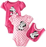 Disney Baby-Girls Newborn Minnie 2 Pack Creeper Bib Layette- Light Pink, 6-9 Months