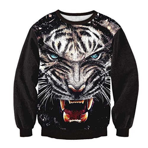 TSlook Men's Long sleeve Tigers 3D Print Sweatshirt T Shirt Large