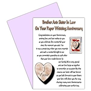 1st Wedding Anniversary Gift For Brother : Brother & Sister In Law 1st Wedding Anniversary Card With Removable ...