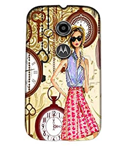 Fuson Key Clock Girl Pattern Back Case Cover for MOTOROLA MOTO E2 - D3837