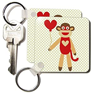 PS Fun Art - Sock Monkey With Heart Balloon - Adorable Animal Art - Key Chains