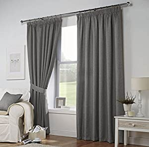 Grey Woven 46x54 117x137cm Fully Lined Pencil Pleat Curtains Drapes from Curtains