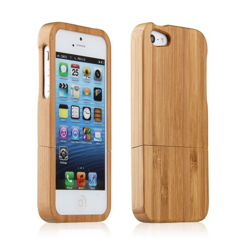 Natural Bamboo Wooden Wood Back Hard Case Cover Skin for iPhone 5
