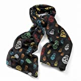 Divadoo Black Multi Coloured Skull Scarf