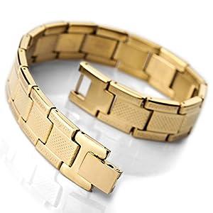 MunkiMix Stainless Steel Bracelet Link Gold Greek Men by MunkiMix
