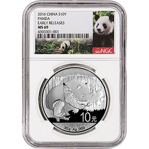 2016 China Silver Panda (30 g) Early Releases - Panda Label 10 Yuan MS69 NGC