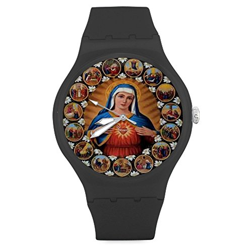 "Christmas Gifts Christian Religious Virgin Mary Unisex Round Rubber Sport Quartz Watch,Watch Face Diameter: 1.58"""