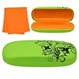 Hard Eyeglass Case, Floral Designed Protective Clamshell Holder for Glasses and Sunglasses, with Microfibre Cleaning Cloth - Green - by OptiPlix