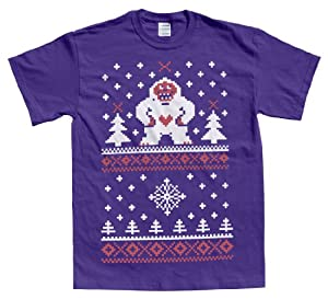 Rocket Factory UGLY CHRISTMAS SWEATER HAPPY YETI DESIGN Men's T-shirt