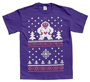 Rocket Factory UGLY CHRISTMAS SWEATER HAPPY YETI DESIGN Men's T-shirt