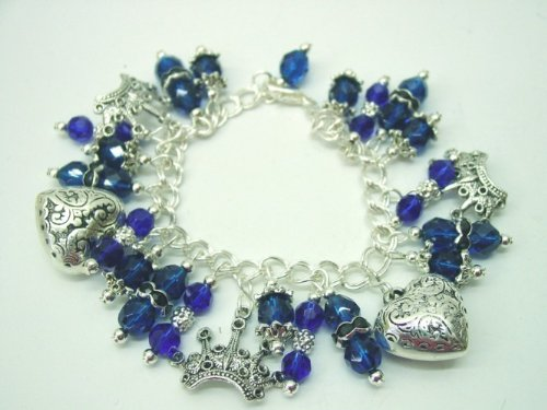 Chic Wrists Queen of Hearts Bold Charm Bracelet Blue Crystals Metal Hearts Metal Crowns Bracelet with FREE Earrings