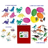 84 Pc Dinosaur Kid S Birthday Party Favor Bundle Pack 12 Dinosaur Eggs 24 Squishy Dino S 36 Tattoos 12 Mini Dinosaurs...