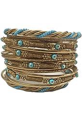 Gold Turquoise Seed Bead Stacking Bangle Bracelet Set of 18