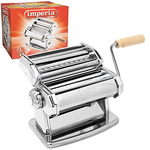Imperia Pasta Maker Machine (150) By Cucina Pro - Heavy Duty Steel Construction with Easy Lock Dial and Wood Grip Handle (Pasta Makers compare prices)