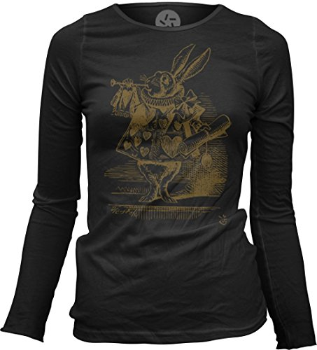 Big Texas Alice in Wonderland - The White Rabbit Herald (Brown) Women's Sheer Long-Sleeve Top