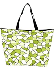 Snoogg Abstract Green Blocks Pattern Designer Waterproof Bag Made Of High Strength Nylon
