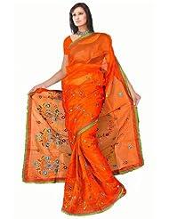 Sehgall Sarees Super Net Saree Attached Brocket Border And Blouse Orange Saree