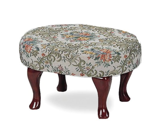 Cherry finish upholstered foot stool