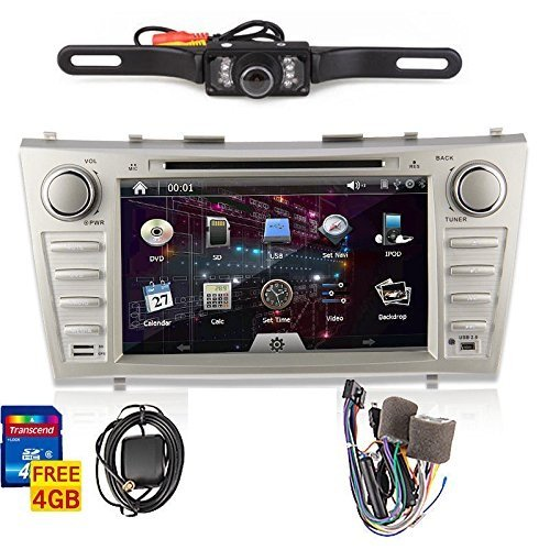 OUKURear Camera Included!!!For TOYOTA Camry(support year 2007 2008 2009 2010 2011) 8 inch Indash CAR DVD Player GPS Navigation Navi iPod Bluetooth HD Touchscreen Radio RDS FM+Free GPS Map Card+Free US Map+Free Backup Rearview Parking LED Camera Cam