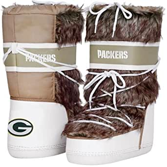 NFL Cuce Shoes Green Bay Packers Ladies The Aficionado Boots - Tan/White (11)