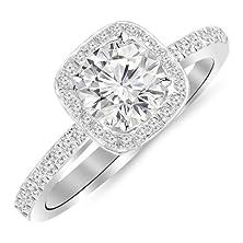 buy 0.91 Carat Classic Halo Style Cushion Shape Diamond Engagement Ring 14K White Gold With A 0.63 Carat F-G Vs1-Vs2 Round Brilliant Cut/Shape Center