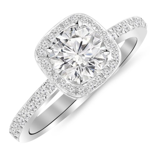 1 Carat Classic Halo Style Cushion Shape Diamond Engagement Ring 14K White Gold with a 0.75 Carat F-G I2 Center