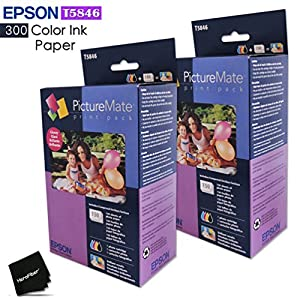 2 Pack Epson T5846 Picturemate Prints includes 300 Color Ink Paper sheets + 2 Ink toners for Epson PictureMate Charm PM 225, PM 260, PM 280 PM 290 PM 300 Printers + HeroFiber Cloth