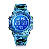 INTSUN 50M Waterproof Digital Watches for Kids LED Military Watch Sport Watch Boys Analog Wrist Watch with Alarm Stopwatch Watch for Birthday, School, Travel, Outdoor, Holidays, Christmas (Blue)