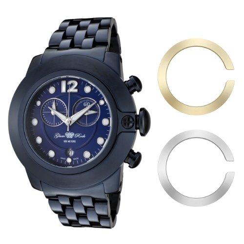 Glam Rock 0.96.2579 - Reloj analógico de cuarzo unisex, correa de acero inoxidable color azul