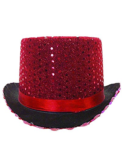 Adult's Red Sequin Butler Magician Top Hat Costume Accessory