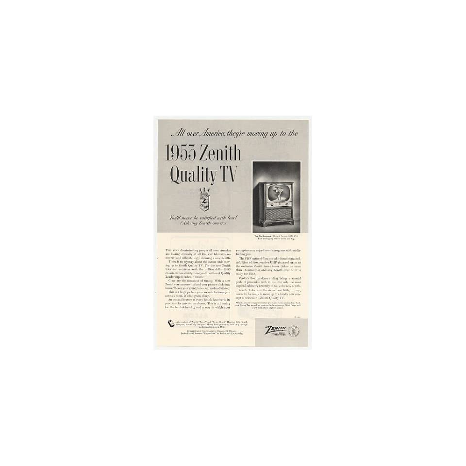 1953 Zenith Quality Marlborough TV Television Print Ad on PopScreen