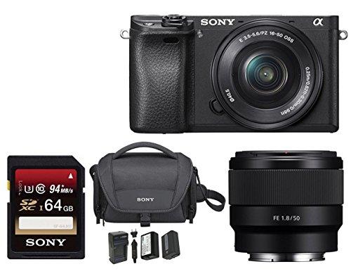 Sony Alpha a6300 Mirrorless Digital Camera w/ 16-50mm f/3.5-5.6 Lens & F1.8 Lens Accessory Bundle